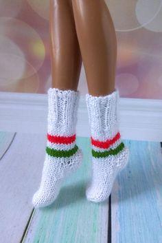 Handmade knitted Christmas socks for 17 inch Monster High dolls