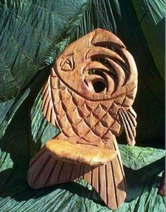 Fish chair chainsaw carving