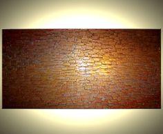 Abstract Painting Gold ORIGINAL Art Palette Knife by Laffertyart, $215.00