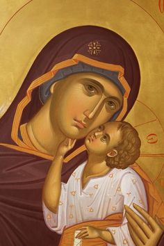 Theotokos Byzantine Icons, Byzantine Art, Religious Icons, Religious Art, Sign Of The Cross, Russian Icons, Religious Paintings, Blessed Mother Mary, Madonna And Child
