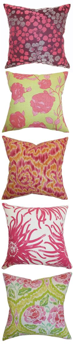 cute pillows in pink + green!