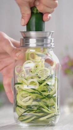 Create spaghetti style spiral ribbons from veggies for a healthier take on chicken Parmesan with this Mason Jar Spiralizer for only $13.99 (that's 30% off!).