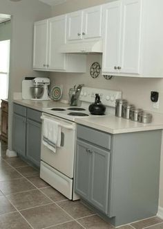 Ex of white stove + grey cabinets