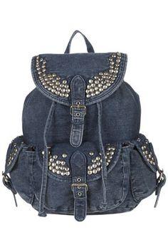 Topshop Studded Denim Backpack