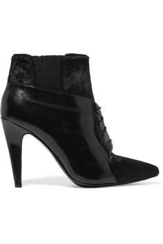 ALEXANDER WANG Ryan Glossed-Leather And Calf Hair Ankle Boots. #alexanderwang #shoes #boots