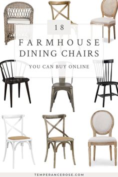 18 beautiful farmhouse dining chairs you can buy online Check out these 18 gorgeous farmhouse dining chairs you can buy online! There are links to cross back wood dining chairs. Steel Dining Chairs, Rustic Dining Chairs, Upholstered Dining Chairs, Metal Chairs, Dining Table, Dining Rooms, Cross Back Dining Chairs, Cheap Dining Room Chairs, Rattan Chairs