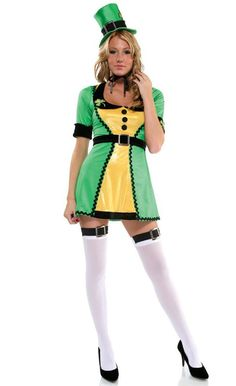 """St Patricks Day Ladies 22/"""" Emerald Rock /& Roll Skirt Set With Lucky Clover Print"""