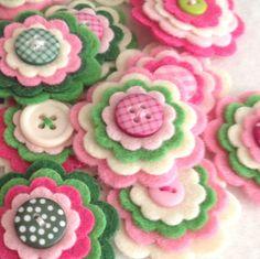 MAGNOLIA x3 Handmade Layered Felt Flower Button Embellishments Brooche
