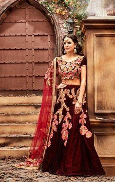 Picture of Tangerine Dark Maroon Designer Bridal Lehenga Choli