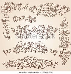 Henna Paisley Vines and Flowers Mehndi Tattoo Doodles Abstract Floral Vector Illustration Design Elements by blue67design, via Shutterstock
