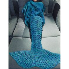 Soft Multicolor Knitted Mermaid Tail Design Blanket For Adult, BLUE in Blankets & Throws | DressLily.com