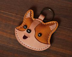 Items similar to Handmade Corgi Key chains - Cute Animal Key ring - Corgi Bag Charm Good Luck Party Favors Gift on Etsy Leather Art, Leather Gifts, Leather Jewelry, Cowhide Leather, Leather Bookmark, Leather Keychain, Animal Key Rings, Leather Crossbody Bag, Leather Purses