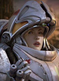 Starcraft2 medic 3d character by kimyongsu