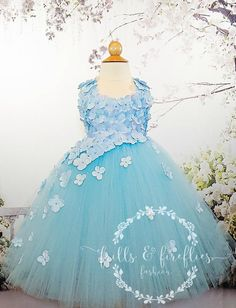 Wedding Dresses For Girls, Girls Dresses, Flower Girl Dresses, Bridesmaid Dresses, Prom Dresses, Formal Dresses, Wedding Girl, Light Blue Flowers, Knee Length Dresses