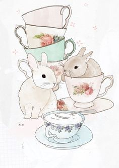 Cute Illustrations - Art Print ACEO for all the tea and bunny lovers This Bunnies and teaprint of mine is now available as an ACEO for you to collect. Art And Illustration, Lapin Art, Bunny Art, Tea Art, Grafik Design, Art Design, Retro, Tea Time, Tea Cups