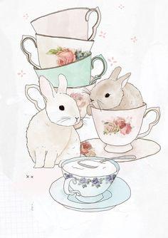 Bunnies and tea cups