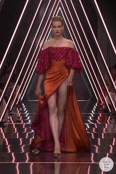 Orange Evening Dresses, Evening Gowns, High Fashion Outfits, Fashion Dresses, Couture Fashion, Runway Fashion, Podium, Most Beautiful Dresses, Wedding Dress Trends