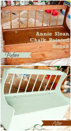 DIY Annie Sloan Chalk Painted Bench! Capturing-Joy.com