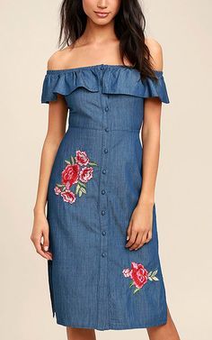 The Wander I Want Blue Chambray Embroidered Midi Dress via @bestchicfashion