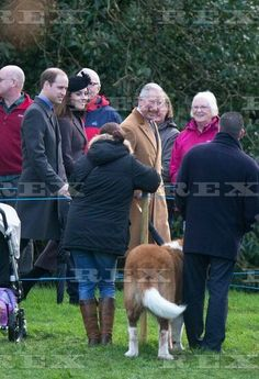 Royal family at St. Mary Magdalene Church, Sandringham, Britain - 27 Dec 2015 Prince Harry, Prince William, Catherine Duchess of Cambridge and Prince Charles as they spot a St Bernard dog on their walk to St. Mary Magdalene Church, Sandringham 27 Dec 2015