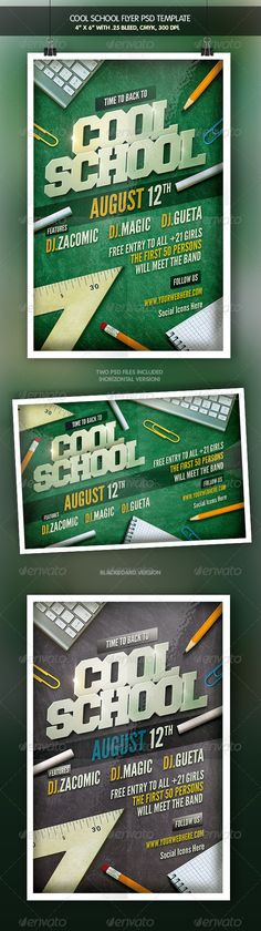 Cool School | Back to School Flyer Template PSD | Buy and Download: http://graphicriver.net/item/cool-school-back-to-school-flyer/8467768?WT.ac=category_thumb&WT.z_author=muse-deluxe&ref=ksioks