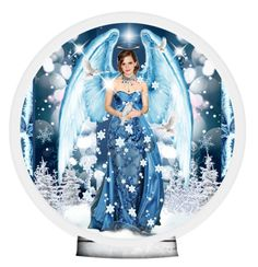 """Blue Christmas Angel *TAS"" by smorgasbordhotel ❤ liked on Polyvore featuring art"
