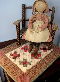 Free pattern - Make this sweet little vintage-looking doll quilt designed by Kathleen Tracy.. http://www.countrylanequilts.com/id30.html  See more of my patterns at www.countrylanequilts.com