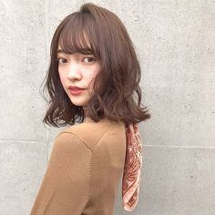 Make it cool กับไอเดีย ผมประบ่าตัดหน้าม้า ให้ดูเซอร์ เป็นสาวสวยดูคูล ก็จะเท่ประมาณนี้ Japanese Perm, Medium Hair Styles, Long Hair Styles, Japanese Hairstyle, Shoulder Length Hair, Hair Beauty, Color, Fashion, Moda
