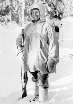 """Simo Häyhä, nicknamed """"White Death"""" by the Red Army, was a Finnish marksman. Using a Finnish version of the Mosin–Nagant in the Winter War, he acquired the highest recorded number in any major war, with at least 505 confirmed sniper kills. History Online, World History, Army Soldier, Red Army, Interesting History, Military History, Luftwaffe, World War Two, Historical Photos"""