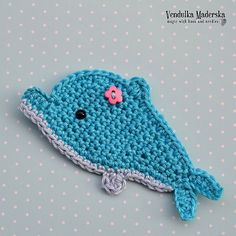 Crochet dolphin appliqué pattern DIY by VendulkaM on Etsy Crochet Flower Patterns, Applique Patterns, Crochet Motif, Crochet Flowers, Crochet Baby, Knitting Patterns, Knit Crochet, Pattern Sewing, Double Crochet