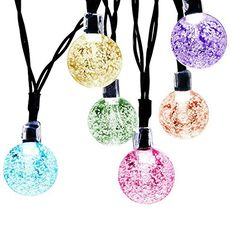 Upgrade Version JETSUN Crystal Lamp Beads Solar String Lights 17ft 30 LED Waterproof Outdoor Decoration Lighting Garden Outer Wall Christmas Tree Multicolor ** Click on the image for additional details.