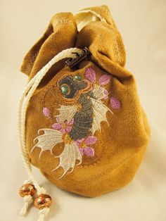 Faux Suede bag with Steampunk Koi