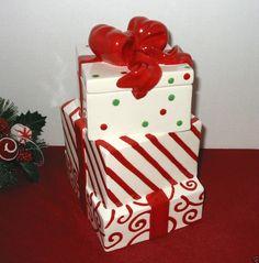 "Holiday Cookie Jar - 3 Stacked Presents 10"" Ceramic ~ White Dots Swirls ~ GUC in Collectibles, Kitchen & Home, Kitchenware   eBay"