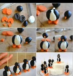 Pinguins fromage olive carotte.