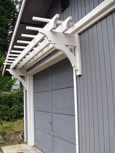 DIY Trellis Over the Garage Door. DIY Trellis Over the Garage Door. Garage Trellis, Diy Trellis, White Trellis, Porch Trellis, Front Porch Stairs, Front Windows, House Windows, Door Arbor, Blue Roof