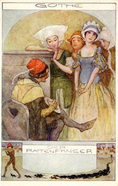 Postcard by Erich Schütz (1886-1937) for the poem 'Der Rattenfänger / The Rat Catcher' by Johann Wolfgang Goethe.