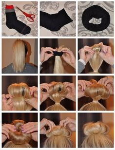 How to sock bun with awesome outcome curls