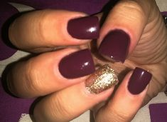 Acrylic nails #sparkle#maroon#fashion