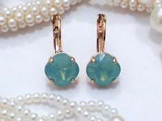 Swarovski Rose Gold Square Cushion Cut Lever Back Earrings, Pacific Opal, 10MM, DKSJewelrydesigns