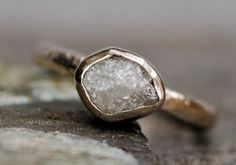 BezelSet Rough Large Diamond Engagement Ring in by Specimental, $1400.00