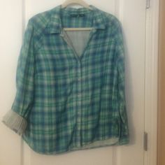 Plaid camp shirt Petite fit boxy plaid camp shirt - 2 sheer layers make up shirt. Make me an offer, I'm motivated to sell! Eddie Bauer Tops