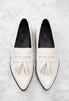 Pointed Faux Patent Flatform Loafers | Forever 21 | #stepitup