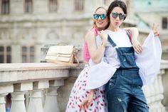 Street style Vienna - Summer Outfit - Fabulous Muses - Alina Tanasa - Diana Enciu - Lips Skirt - Denim Jumpsuit