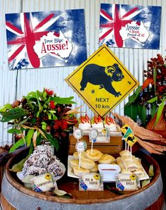 Australia Day party invitations and decorations Australian Party, Australian Food, Australian Recipes, Aussie Bbq, Aussie Food, Pink Lake, 50th Birthday Party Themes, Happy Birthday, Boy Birthday