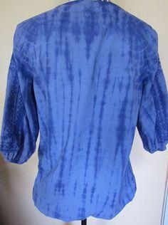 5f350f4d5b7 NWT RUFF HEWN cobalt tie dye 3 4 sleeve pullover shirt w  elastic bottom  Size PS 888252375141 eBay tie dye sleeve
