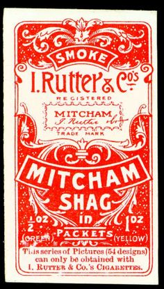 """Vintage Graphic Design Cigarette Card Back - Rutter's """"Mitcham Shag"""" by cigcardpix - Rutter Micham Shag tobacco - """"Comic Phrases"""" issued in Vintage Typography, Typography Letters, Typography Logo, Graphic Design Typography, Lettering Design, Map Vintage, Vintage Type, Vintage Packaging, Vintage Labels"""