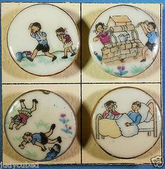 "Set 4 Nursery Rhymes Buttons ""Jack & Jill"" 1950's Ceramic Transfers, 1+"" Dia."