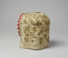 cap Date: Culture: Italian, Venice Medium: Linen and silk, metal-wrapped thread, glass beads Dimensions: L. 7 inches x cm) Classification: Textiles-Embroidered Accession Number: Renaissance Hut, Renaissance Costume, Renaissance Fashion, Renaissance Clothing, Italian Renaissance, Historical Costume, Historical Clothing, Historical Women, Female Clothing