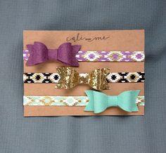 Baby Headband Set. Aztec Headband Collection. Infant Headbands. Gift Set. Mint and Gold Headbands