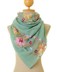 Mint Scarf | Embroidered Scarf | Mint Infinity Scarf | Embroidery Scarf | Embroidered Shawl | Mint Pashmina (S-175) by Tailored2Modesty on Etsy